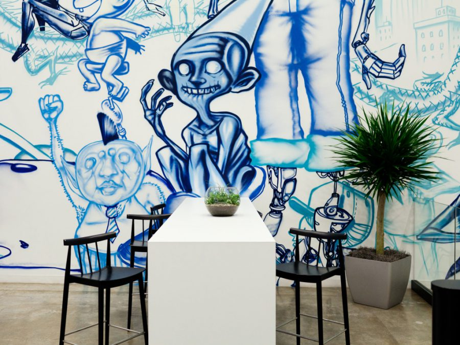 A Facebook lobby mural by artist David Choe, Menlo Park, Calif., Nov. 11, 2014. ©Peter Mccollough/Wired