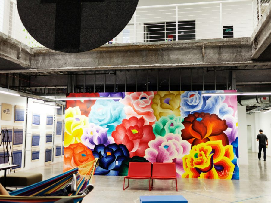 Mural by Jet Martinez, Facebook Headquarters, Menlo Park, Calif, Nov. 11, 2014. ©Peter Mccollough/Wired